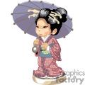 An asian girl in a kimono holding a blue umbrella