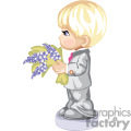 a side view of a boy in a grey suit holding a flower bouquet