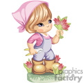 little gardening girl cutting tulips gif, png, jpg, eps
