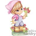 Little gardening girl cutting tulips