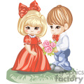 Little Boy in a Red Bow Tie Giving Flowers To a Little Girl in a Red Dress