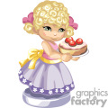 A Little Blonde Girl in a Purple and Pink Dress Holding a Pie