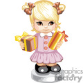 little girl in a pink button down dress holding gifts gif, png, jpg, eps