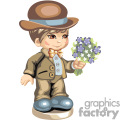 A brown haired boy in a brown suit carrying a bouquet of flowers