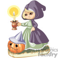 A girl in a cloak carrying a candle with a halloween pumpkin at her feet