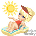 Little girl sunbathing on the beach