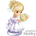 a little blonde haired girl in a purple and white frilly party dress carrying a bouquet of lilies