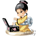 asian girl in a yellow kimono pulling pearls out of a jewelry box