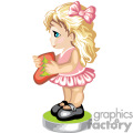 little girl in a little pink dress holding a christmas stocking gif, png, jpg, eps