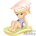 little girl in a blue bathing suit and a pink hat laying on a towel at the beach gif, png, jpg, eps