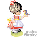 A Little Girl with a Red Dress and a White Apron Holding a Blue Bird