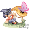 Little leprechaun boy sitted close to a mushroom talking with a butterfly