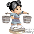 Asian little girl holding in her shoulders water buckets