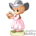 A Little Girl in a Pink Western Style Dress and a Brown Vest Holding a Pot