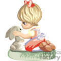 A little Girl in a Red Dress and Bow Kneeling Petting a Bunny