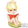 a little blonde girl sitting reading a book gif, png, jpg, eps