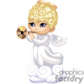 A Little Angel all in White with Wings and a Golden Halo Playing a Gold Horn
