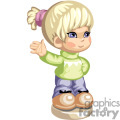 A little blonde haired girl with a pony tail and a green shirt and jeans waving