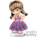 little girl with braids wearing a blue dress with red flowers gif, png, jpg, eps