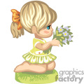 A little girl kneeling with a bouquet of flowers in her hand