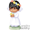 Little African American Girl in a White Wedding Dress