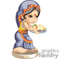 An indian girl with a tray of food