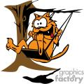 Orange cat swinging on a tree swing