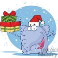 3292-Happy-Christmas-Elephant-Holds-Up-Gifts