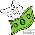 flying cartoon dollar