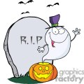 3228-ghost-waving-from-pumpkin-near-tombstone-and-bats  gif, png, jpg, eps, svg, pdf