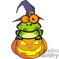 3222-Frog-With-A-Witch-Hat-In-Pumpkin