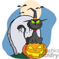 3226-Halloween-Cat-on-Pumpkin-Near-Tombstone-And-Bats-A-Full-Moon