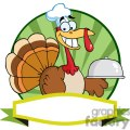 3513-Turkey-Chef-Serving-A-Platter-Over-A-Circle-And-Blank-Green-Banner