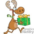 3331-Happy-Reindeer-Runs-With-Gift