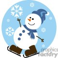 happy snowman with blue hat and brown skates