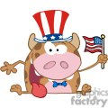 Patriotic-Calf-Cartoon-Character-Waving-An-American-Flag-On-Independence-Day