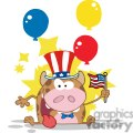 3800-Patriotic-Calf-Cartoon-Character-Waving-An-American-Flag-On-Independence-Day