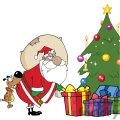 3864-Dog-Biting-A-Santa-Claus-Under-A-Christmas-Tree