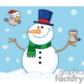 Friendly-Snowman-With-A-Cute-Birds-InThe-Snow