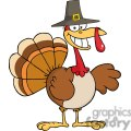 3515-Happy-Holidays-Greeting-With-Turkey-Cartoon-Character vector clip art image