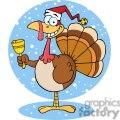 3651-Happy-Turkey-With-Santa-Hat vector clip art image