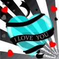 blue heart with I love you ribbon