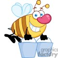 4105-happy-honey-bee-flying-with-a-buckets  gif, png, jpg, eps, svg, pdf