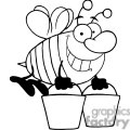 4104-happy-honey-bee-flying-with-a-buckets  gif, png, jpg, eps, svg, pdf