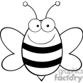 black and white bee gif, png, jpg, eps, svg, pdf