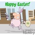 Easter bunny robbing a bank