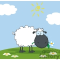black cartoon sheepon a hill