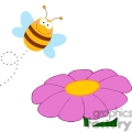 bee flying above a flower gif, png, jpg, eps, svg, pdf