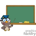 4311-Owl-Teacher-Cartoon-Character-With-Graduate-Cap-In-Front-Of-School-Chalk-Board
