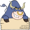 an angry blue bull looking over a plank of wood